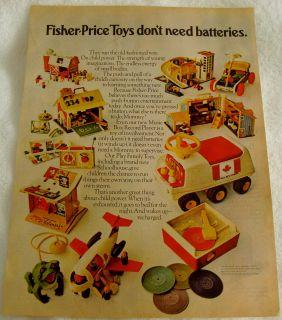 1971 FISHER PRICE TOYS RECORD PLAYER PLANE ATV BARN CANADA AD