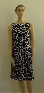 Gorgeous SILK FLORES & FLORES Black White Pink Dress 10 m l