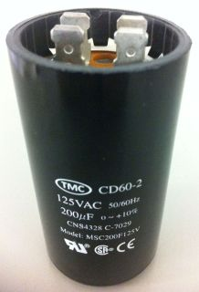 MOTOR START CAPACITOR TMC CD60 200uf 125V 50/60Hz, 200MFD 125VAC NEW