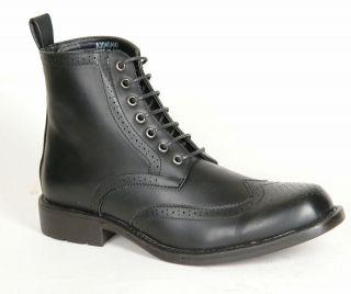 Mens / Gents Black Lace Up Brogue Boots Size 6 7 8 9 10 11 12