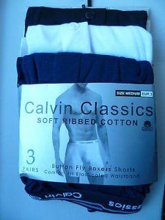 3x mens calvin classics boxer shorts size medium