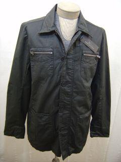New $160 Marc Anthony Slick Waxy Cotton Mens Rain Zip Coat Jacket L