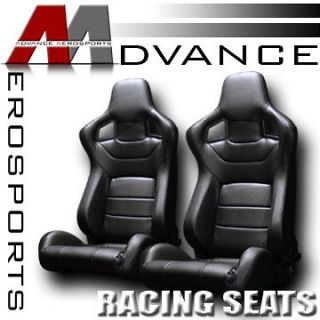 2x Universal MU Style V3 Black PVC Leather Sport Racing Bucket Seats