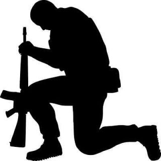 Religious Decal Army Guy Praying Sticker Religion For Laptop Car Truck