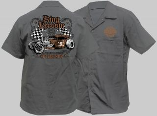 MENS ROCKABILLY WORK SHIRT LOUNGE KUSTOM KULTURE HOTROD RETRO VINTAGE