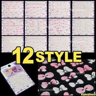 Pink and White Bows and Heart Shape 3D Nail Art Stickers Decals