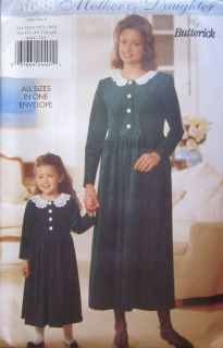 Butterick SEWING Pattern 4688 Mother & Daughter Matching Dresses UNCUT