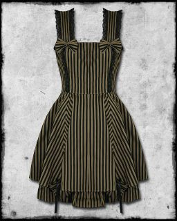 SPIN DOCTOR MAYA BLACK BROWN STRIPE STEAMPUNK VTG VICTORIAN STYLE BOW