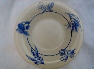 Set of 4 ARCOPAL FRANCE ~ RIMMED SOUP BOWLS ~ CRACKLE w BLUE FRUIT