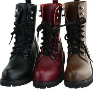 New Womens Lace Up Punk Rock Motorcycle Low Heel Military Combat Boots