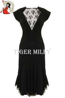 SPIN DOCTOR / HELL BUNNY cocktail ARIANA fishtail DRESS BLACK UK 6 14