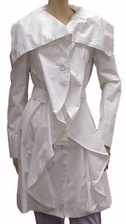 600 New Size XS Armani Jeans Womens Jacket Coat White Cotton NWT