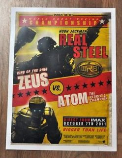 REAL STEEL ZEUS VS ATOM FIGHT PROMO POSTER IMAX LIMITED EDITION HUGH