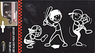Car Decal, Our Family Stick People  Lge   BASEBALL  5 x 8 Vinyl