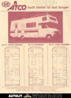 1970 Atco Dodge Motorhome RV Travel Trailer Brochure