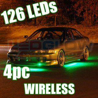 Wireless 4pc Green Underglow Car LED Neon Lights Kit w. Patterns