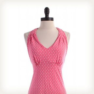 polka dot halter dress pink in Womens Clothing