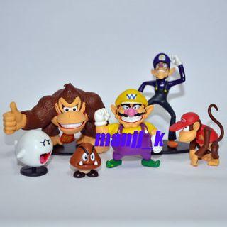 NEW Super Mario Bro figure 1 set 6 #E Wario Waluigi Boo Diddy Kong