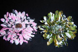 lot 2 CAMO gerbera daisy FLOWER bridal CRAFT tutu HAIR bouquet SHOWER