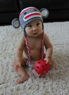Cute** Crochet Baby/Toddler Sock Monkey Hat   Traditional Grey w