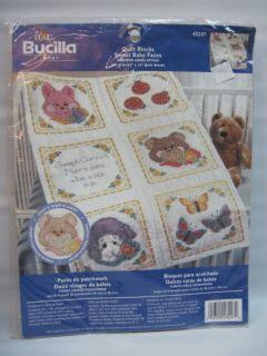 Stamped Cross Stitch Set of 6 Quilt Blocks Bucilla Baby Personalized