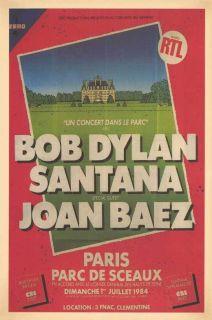 Bob Dylan, Santana, Joan Baez 1984 Concert Poster Paris