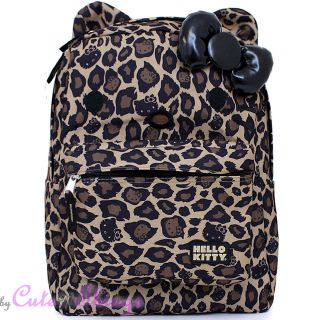 Hello Kitty Leopard School Backpack with Ear 3D Bow 16 Large