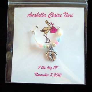 12 Baby shower / Christening/ New Baby personalized wine charm party