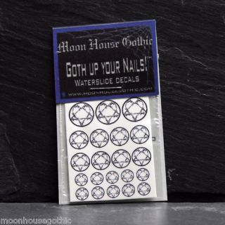 21 Gothic Barbed Wire heartagram Nail art w/s decals
