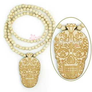 Fashion Good Grass Wood beads Skull Pendant Long Ball Chain Necklace