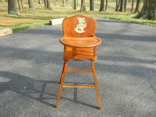 Antique Child High Chair Rocking Baby Infant Solid Wood