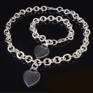 TIFFANY & C0 ~ $625 ~ HEART TAG CHARM NECKLACE BRACELET SET ~ SILVER