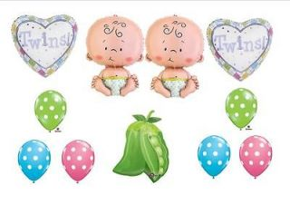 SWEET PEA IN POD BABY SHOWER BALLOONS TWINS DECORATIONS boy girl