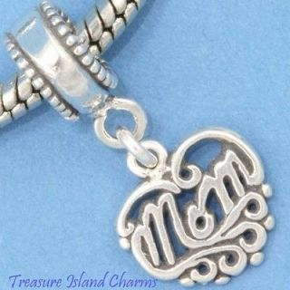 MOM HEART Mother .925 Sterling Silver EUROPEAN EURO Dangle Bead Charm