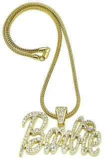 Iced Out Pendant Nicki Minaj Barbie Style Necklace Chain Assorted