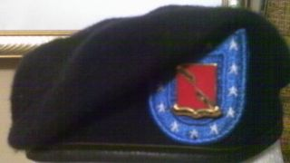 FIELD ARTILLERY REGIMENT BLACK BERET 6 5/8 BANCROFT MILITARY UNIFORM