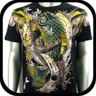 Artful Couture T Shirt Tattoo Koi Fish AB9 Sz M L XL XXL Japanese