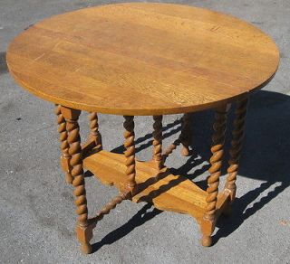 ANTIQUE QUARTER SAWN OAK BARLEY TWIST GATE LEG TABLE