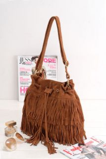 HOT Faux Suede Fringe Tassel Shoulder Bag Womens Handbags Messenger
