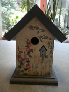 DECORATIVE WOODEN MUSICAL BIRD HOUSE WITH LOVELY FLORAL DESIGN   GREAT