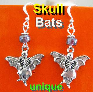 SKULL BATS EARRINGS DAY OF THE DEAD dia de los muertos Catrinas gothic
