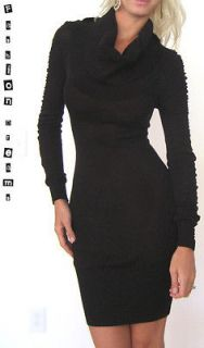 NWT BEBE BLACK TURTLE NECK LONG MESH RUCHED SLEEVE COCKTAIL SWEATER