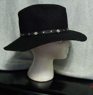 Western Black Wool Felt Fedora Outback Cowboy Hat Ranch Horse Rodeo