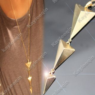 Art Deco 3D Triangle Body Arrow Spike Stud Chain Necklace Goth Punk