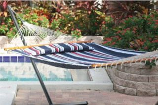 New Big Spreader Bar Hammock Blue Stripes 1 or 2 Person Premium 80 x