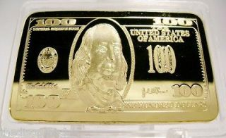 10 x 24K GOLD Layered 1oz Troy ounce $100 Hundred Dollar Bill Bar