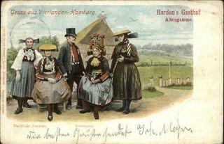 GERMANY Gruss aus Vierlanden Hamburg Natives in Ethnic Costumes c1905