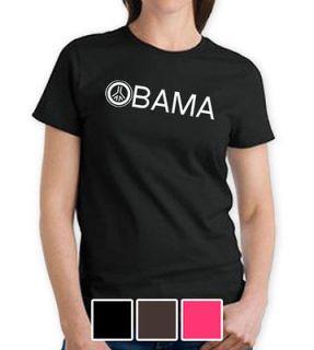 OBAMA PEACE SIGN WOMEN LADIES BLACK X LARGE XL SHIRT 2012 ELECTION