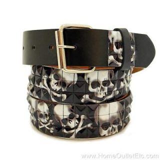 Row Metal Pyramid Studded Leather Belt Skull & Crossbones Unisex