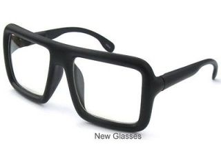 BIG LARGE Flat Top Thick Bold Black Square Frame Clear Lens Hipster